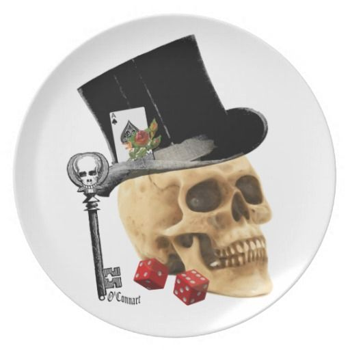 Gothic gambler skull tattoo design dinner plates