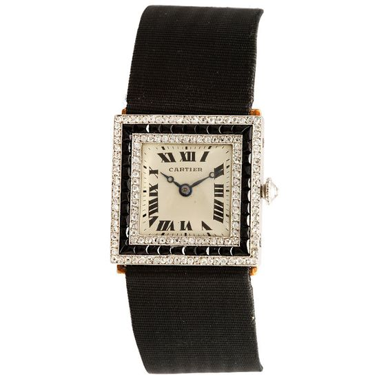 Cartier Art Deco Diamond and Onyx Watch