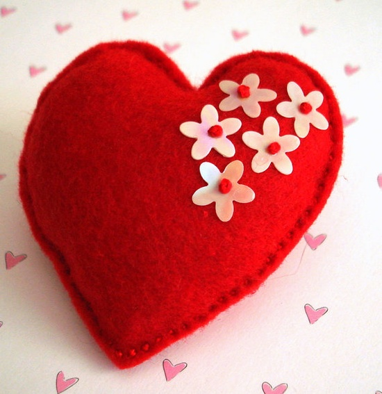 Red and luminous flower sequins felt heart by TheFrenchKnots, $10.00