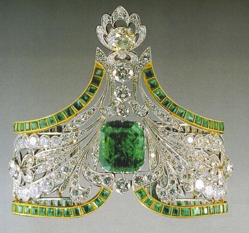 russian emerald and diamond tiara.