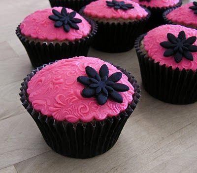 Pink damask cupcakes