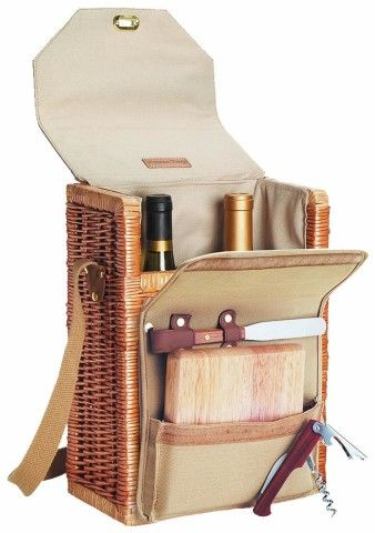 "Picnic Time Corsica 13"" H Willow 2-Bottle Wine and Cheese Basket"