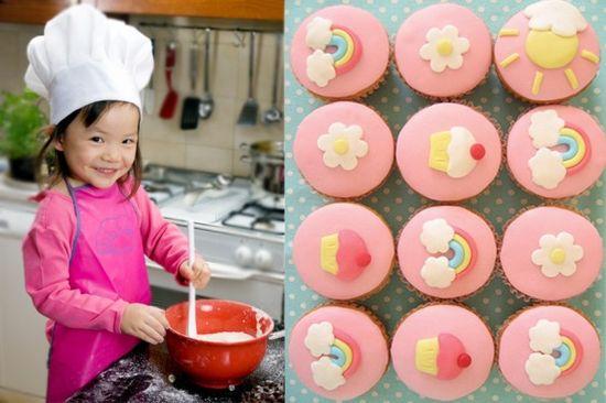 Cute kid cooking baking