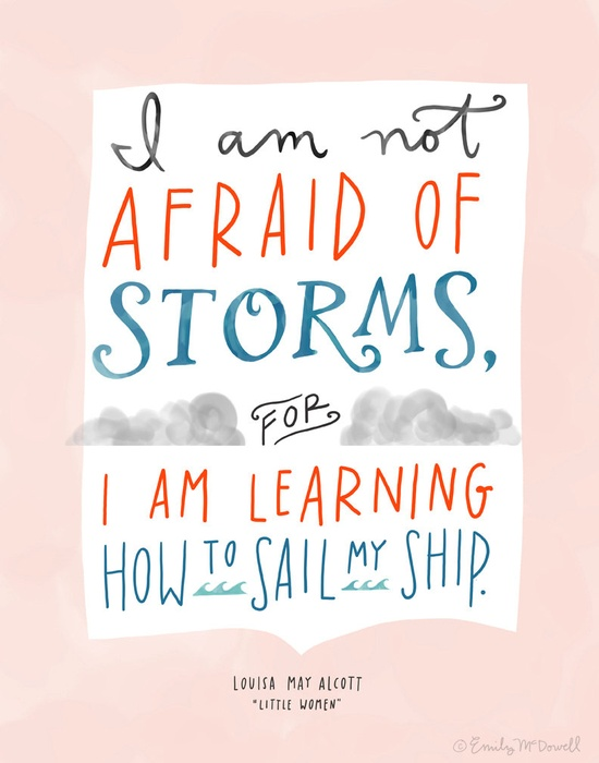 """Design Mom Collection: Louisa May Alcott """"Little Women"""" Not Afraid of Storms Quote, Hand-Lettered Print, 5"""" x 7"""". $16.00, via Etsy."""