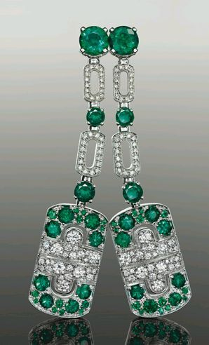 Diamond and Emerald earrings, Bulgari