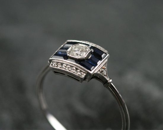 art deco sapphire and diamond