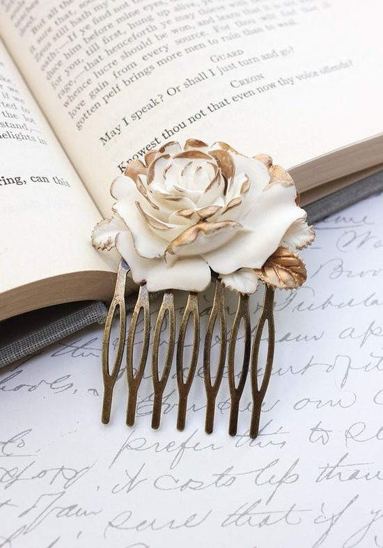 Rose Hair Comb Ivory Cream Rose Gold Petals by apocketofposies