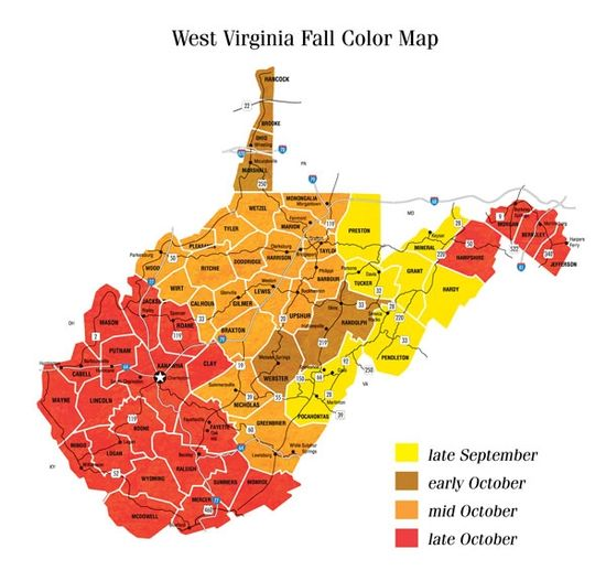 Division of Forestry's Fall Color Map for West Virginia
