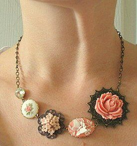 Necklace. Great idea for the broken bits of old jewelry I own. Find Everything you need to re-create this look at Sleepy Poet Antique Mall!