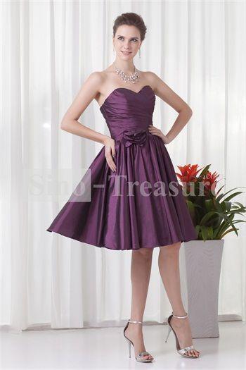 Purple Handmade Flower Knee-Length Sleeveless Bridesmaid Dresses
