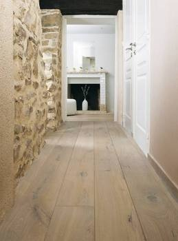 Wooden floor stone wall