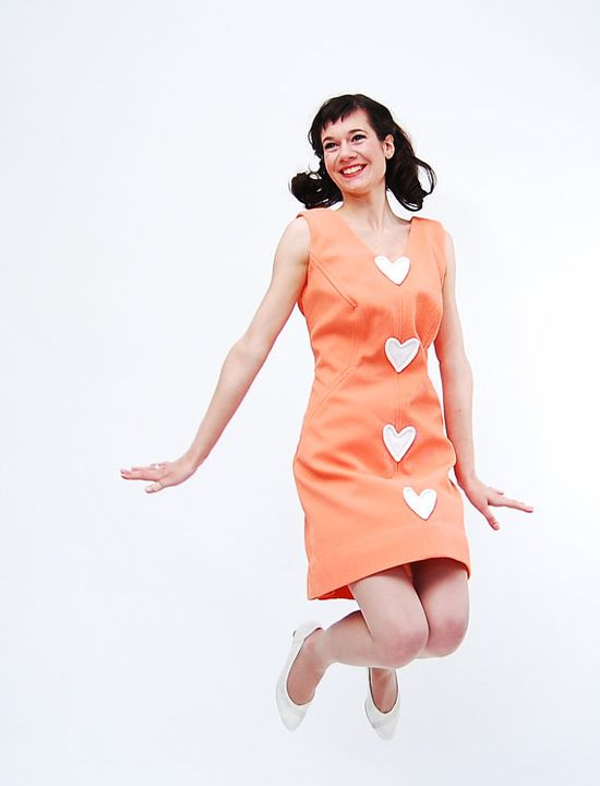 {peachy happy hearts 1960s dress}