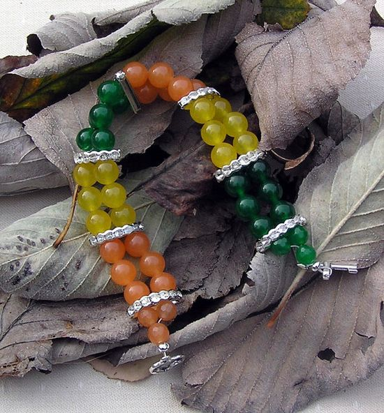 Orange Green and Yellow Agate Gemstone Crystal by SunnyCrystals, £12.75