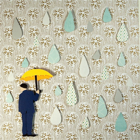Rain Drops- FRAMED 3D Paper Illustration by Annies-Paper-Portrait