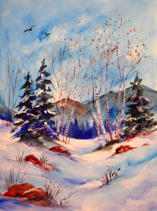 Acrylic Painting of Winter Trees in Snow by MarthaKislingArt