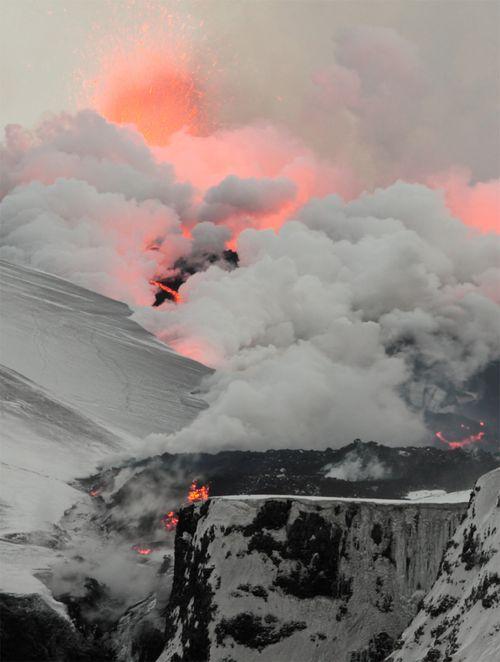 Flowing lava vaporizing snow - Fimmvorduhals, Iceland