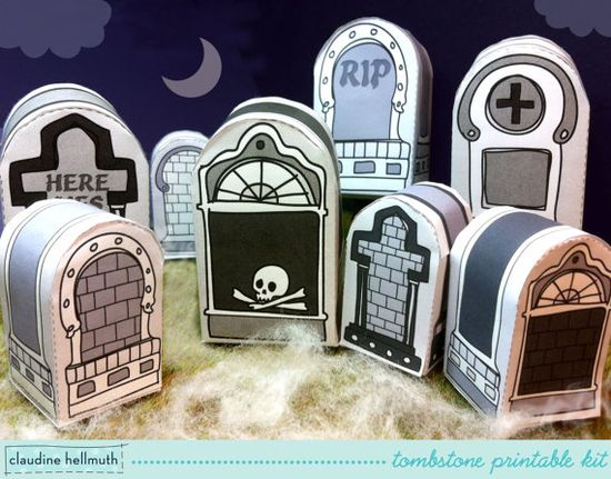 halloween tombstones - party favor box & place setting marker, table centerpiece printable PDF - INSTANT download via Etsy