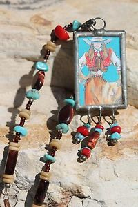 Vintage 1990 Hand Made Cowgirl Up Beaded Necklace