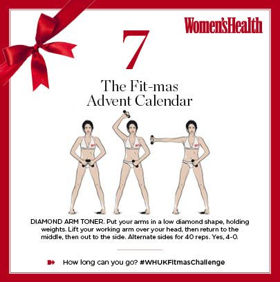 """According to Tracy Anderson, a common mistake is forgoing exercises like this Diamond Arms Toner and dieting instead. """"Toning exercises are the only way to stay trim,"""" she says. That's us told. #WHUKFitmasChallenge"""