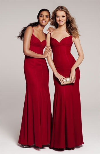 In love with these bridesmaid dresses! #Nordstromweddings - ML Monique Lhuillier Bridesmaids Satin Trim Surplice Gown