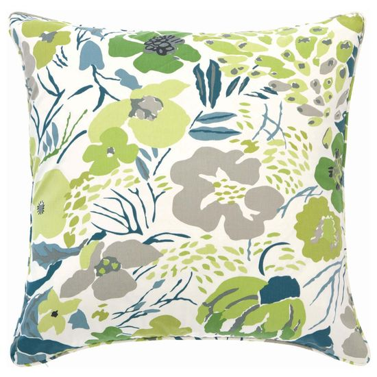 Pine Cone Hill Hot House Floral Spring Decorative Pillow. White + Green for summer color inspiration.