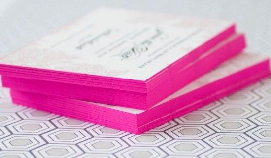 edge painting - business cards in pink.