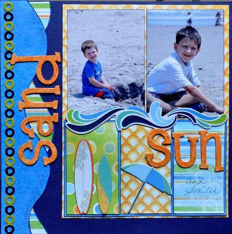 summer beach scrapbook layout