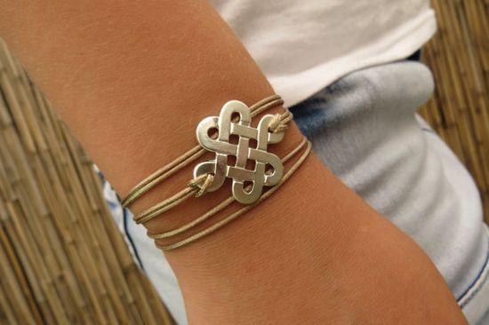 Silver Infinity bracelet Beige cord bracelet Wrap  by HLcollection, $22.00