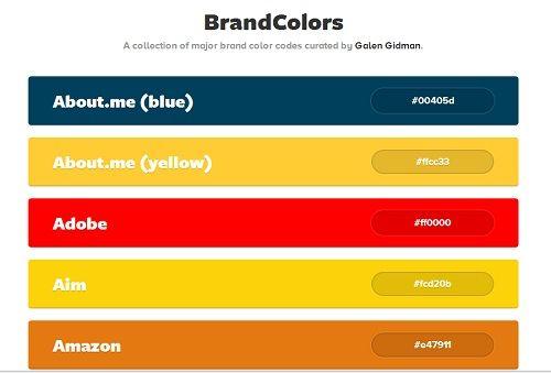 Designer Catalogs Major Brands By Their Color Codes