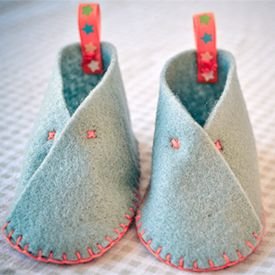 Make these cute felt booties in an afternoon, with simple supplies.