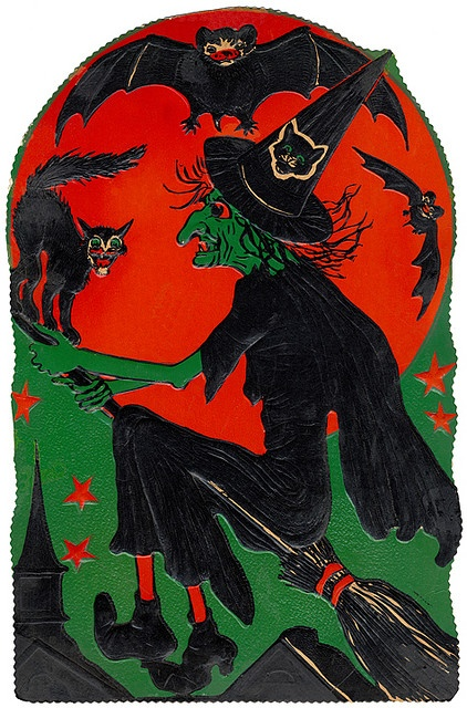 Witch Flying - 1930 Diecut