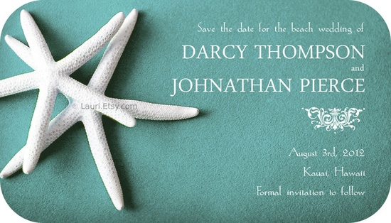 Wedding save the date Magnets - set of 50-WHITE STARFISH on teal