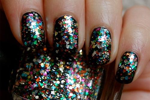 glitter over black #nail #art