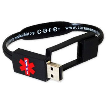 CARE Medical History Bracelet:   USB drive compatible with any computer's USB port, preloaded CARE e-Manager Software, room to store and organize information for everyone in the family, durable, waterproof and latex-free, displays internationally recognized medical alert symbol.  choice of colors and sizes, interlocking mechanism to keep bracelet securely on wrist. $19.99.  #Medic_Alert_Bracelet #USB_Bracelet #CARE