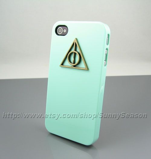 IPhone 4 Case, Bronze Deathly Hallows iPhone 4s Case, Harry Potter iPhone Case,Green iphne 4/4s case. $7.99, via Etsy.