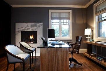 Glass desk, Fireplace, Home Office Design Ideas, Modern, Natural lighting, Sleek, Streamlined.