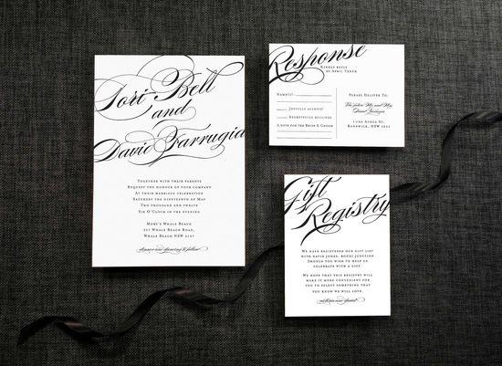 DIY Printable Wedding Invitation Calligraphy  - 4 pieces. $95.00, via Etsy.