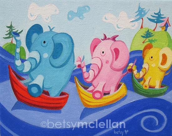 Sailing Elephants Original Painting by betsymclellanstudio, $55.00