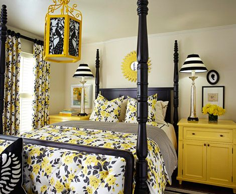 Yellow bedroom - a little more floral pattern than I like. Love the yellow nightstands (like how they are tall too). Fun light