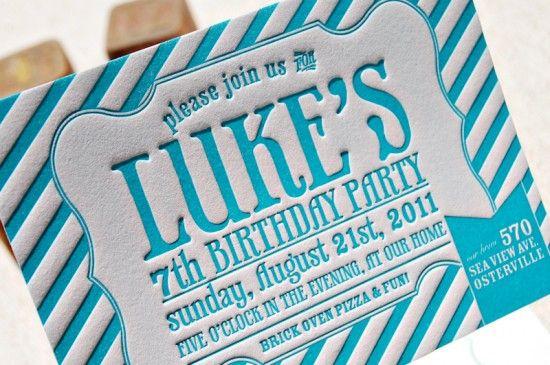 Classic and fun letterpress birthday invitation.
