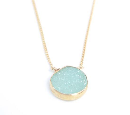 Hokulani necklace - aqua green gold druzy necklace, bezel druzy necklace, gold pendant necklace, hawaii bridesmaid necklace, wedding jewelr