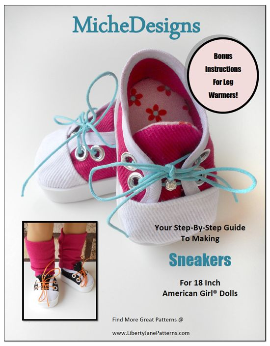Sneakers Doll Shoe Pattern for American Girl Doll #sewing #shoe #doll