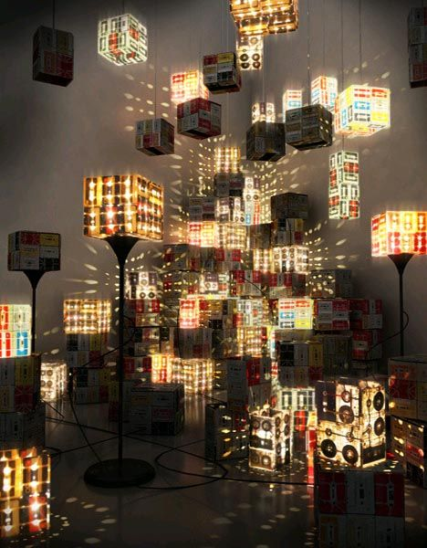 Lamps made with recycled cassettes