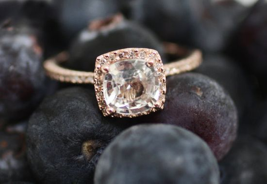 Cushion white sapphire in 14k rose gold diamond ring.