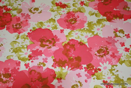 1970's Vintage Wallpaper Retro Solid Vinyl by kitschykoocollage, $14.00