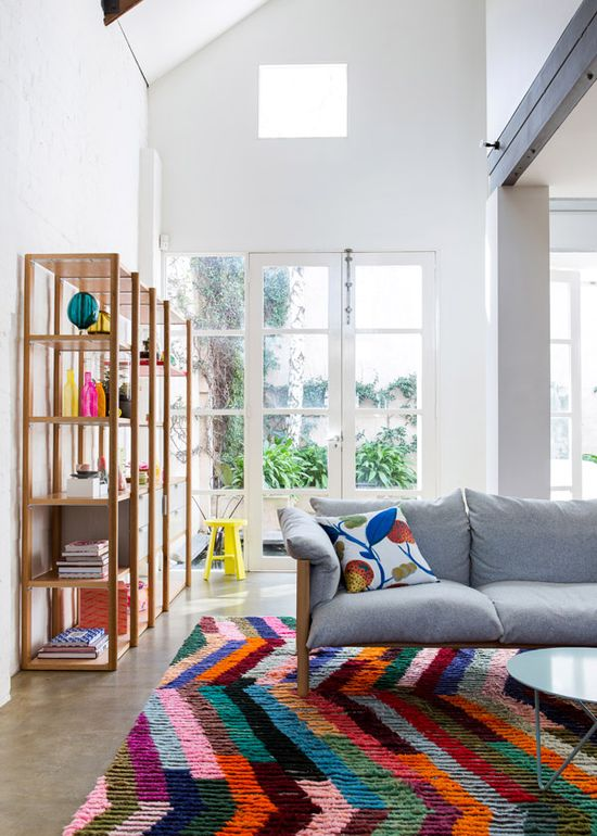 Smashing rug! The Design Files Open House 2012.  Furniture by Jardan, rug by Loom Rugs. www.thedesignfile...