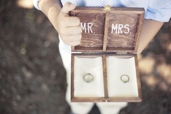 Mr. and Mrs. DIY ring bearer box. #MarthaStewartWeddingsMagazine