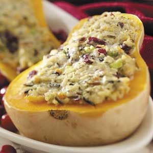 Stuffed butternut squash: I modify this a bit... stuff it with Trader Joe's wild rice blend, roasted chopped apples, toasted almonds, and dried cranberries. Wonderful vegan fall dinner!