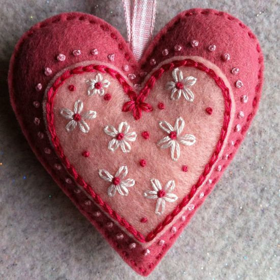 Red and pink felt embroidered heart