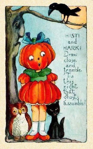 Vintage Halloween pumpkin girl